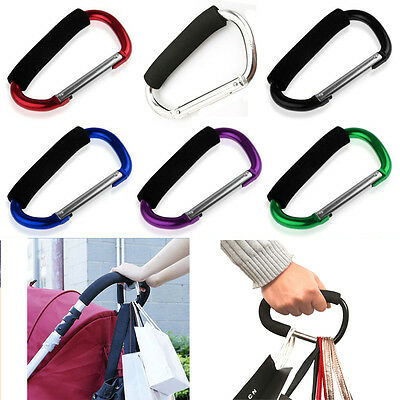 2×Buggy Clips Coloured Large Pram Pushchair Shopping Bag Hook Mummy Carry Clip