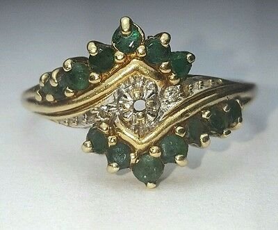 VINTAGE NATURAL GREEN EMERALD Diamond Ring 10k yellow gold size 9.75 cocktail