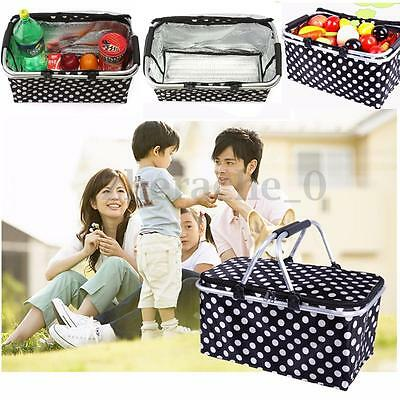 30L Large Thermal Insulated Lunch Picnic Basket Bag Cooler Camping Storage AU