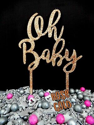 Oh Baby RAW / GLITTER CAKE DECORATION TOPPER TIMBER BABY SHOWER DAY REVEAL PARTY