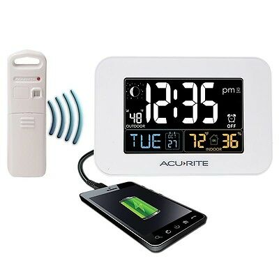 AcuRite 13041 Intelli-Time Alarm Clock with Outdoor Temperature & USB Charger AU