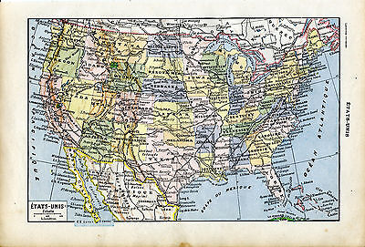 1922 UNITED STATES OF AMERICA USA Antique Map Larousse