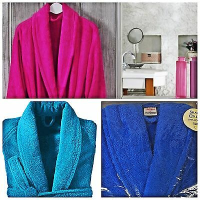 Unisex Luxury 500 Gsm Egyptian Cotton Terry Towelling Bath Robe Dressing Gown