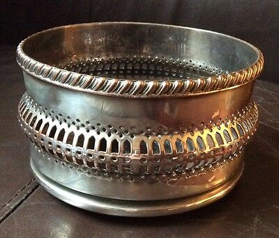 Antique silver plate on copper tall wine coaster