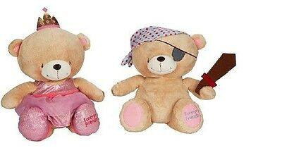32cm 12'' Forever Friends Soft Toy Plush Bear Pirate and Princess