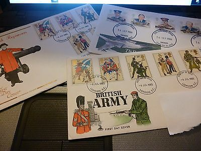 First Day Covers 6 Jul 1983 + 16 Sep 1986 - Raf, Army & British Regiments Stamps