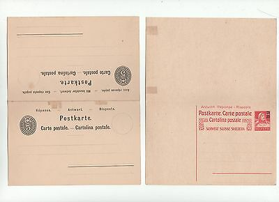 STATIONERY 2 reply reponse CARTE cartolina Ganzsache entier used Suisse Schweiz