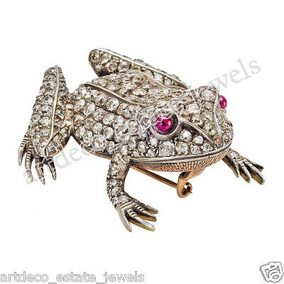 3.74ct ROSE CUT DIAMOND & RUBY NEW VINTAGE REPRODUCTION FROG BROOCH/FREESHIPPING
