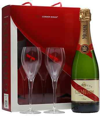 G.H. Mumm Cordon Rouge Brut Champagne 75cl & Two Glass Gift Set