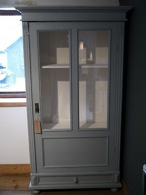 Painted Grey Display Cabinet
