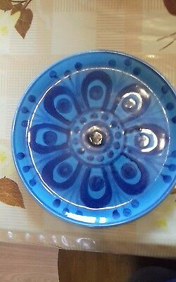 Arklow pottery John Ffrench blue peacock design plate