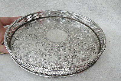 Vintage Viners 10 Inch Alpha Plate Silver Plated Galleried Tray