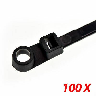 "100 Nylon Cable Wire Zip Ties Mounting Hole Nail Screw  50 LBS 10"" Inch Black"