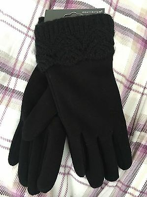 Black Ladies Gloves With Knitted Lace Trim
