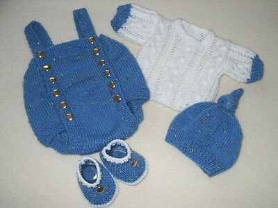 "Hand Knitted 4 Piece Romper Set For A Baby Boy ~ Reborn 18-20"" Or 0-3 Mth Baby"