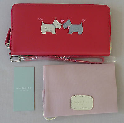 """Radley Large Bright Pink Leather Wristlet Purse - """"Hello"""" - RRP £79 - NEW"""