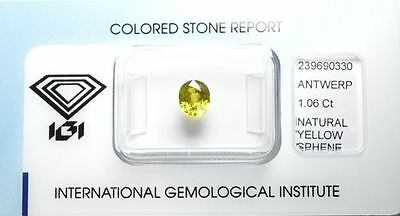 Sphène 1.06 carats - Natural Sphene titanite Certified IGI