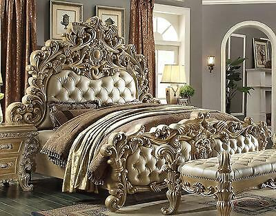 Homey Design HD-7012 Victorian Luxury Champage Button Tufted California King Bed