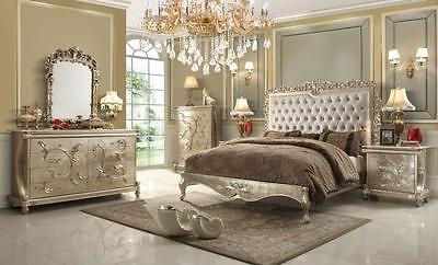 Homey Design HD-13005 5 Luxury Pearl White California King Bedroom Set 5Pcs