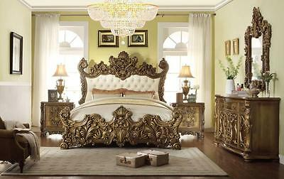 Homey Design HD-8008 Luxury Golden Royal Palace California King Bedroom Set 5Pcs