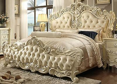 Homey Design HD-5800 Traditional Cream Pearl Button Tufted Eastern King Bed