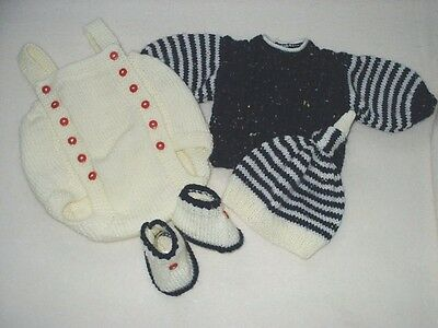 "Hand Knitted 4 Piece Romper Set For A Baby Boy ~ Reborn 19-21"" Or 0-3 Mth Baby"