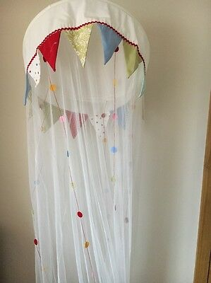 White Cotton Girls  Bunting Net Bed Canopy  T9737