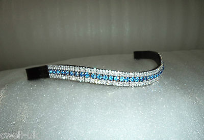 BLING Dressage*Mega-Sparkly Leather Browband*5Row Crystals*AQUA/CLEAR BROWN COB