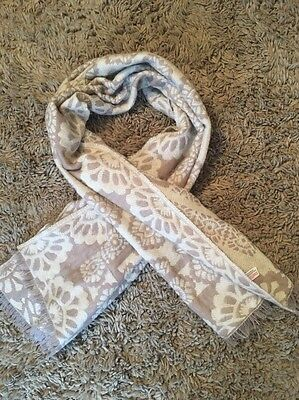 Long Thick Snug Scarf Dark Rose And Cream
