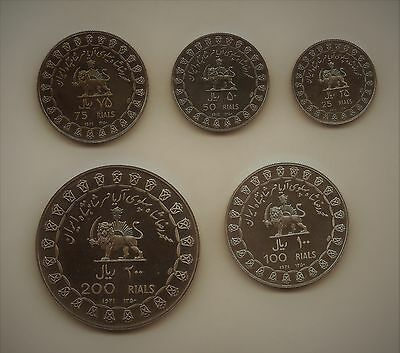 1971 Silver Proof Set Middle East Aniver. Coins 200 / 100 / 75 / 50 / 25 Rials