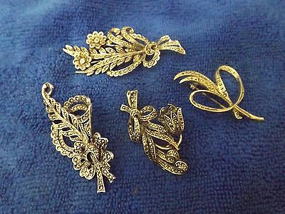 1950's Vintage Marcasite Brooches Costume Jewellery Spares or Repair