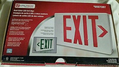 Utilitech Dual-Color Led Exit Sign Battery Backup Double Sided Exit Sign