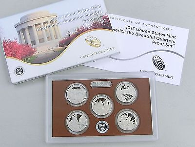 USA Quarter America the Beautiful - proof / PP set 2017 5x25 Cents