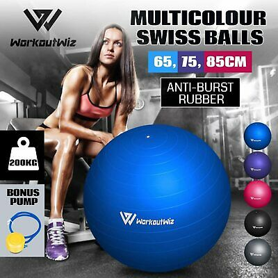 Workout Wiz Multicolour Exercise Swiss Balls Home Gym Yoga Fitness 65/75/85cm