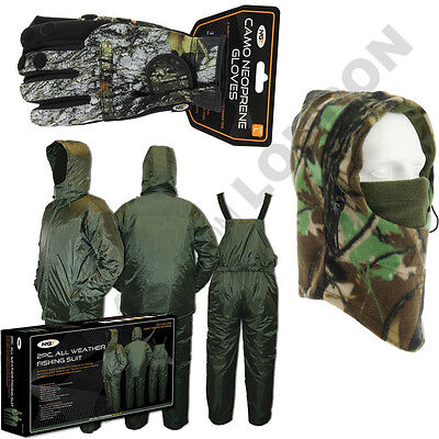 Carp Fishing Camping 2 Piece Thermal Line Suit + Camo Gloves + Face Guard Snood