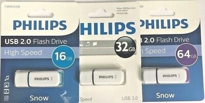 Philips USB 2.0 Flash Drive  White   8GB/16GB/32GB/64GB  12 Months Warranty
