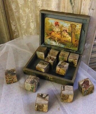 Antique French victorian wooden block puzzle,great lithography,in box,complete