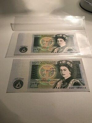 2 MINT £1 Banknotes