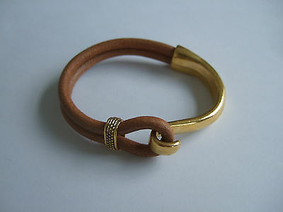 5 Sets Gold Plated Hook Clasp Half Cuff Bracelet Findings for 5mm Round Leather