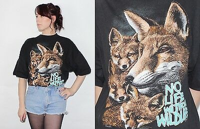 Vintage 1990's 100% COTTON Black Brown WOLD WILDLIFE PRINTED OVERSIZE T-Shirt L