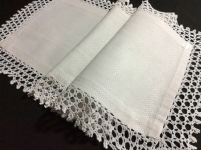 """Lovely Antique Huckaback/waffle Linen Table Runner With Lace ~ 36 X12"""""""