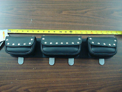 Universal Studded 3 Pouch Windshield Bag For Motorcycle Harley W/ Fairing