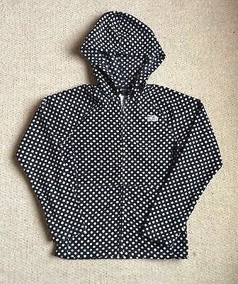 Girls Medium 10 12 Years North Face Black Spotty Zipped hooded fleece Jacket