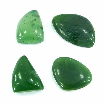 50.00 Ct  Natural Cabochon Green Serpentine Loose Gemstone Lot 4 Pcs - R1405