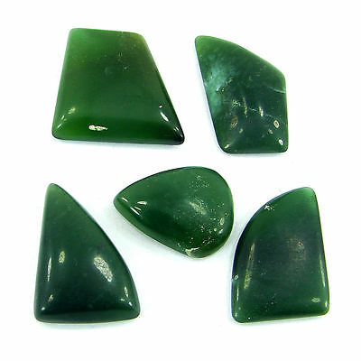 53.50 Ct  Natural Cabochon Green Serpentine Loose Gemstone Lot 5 Pcs - R1408