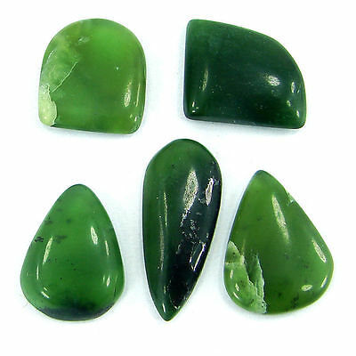 40.00 Ct  Natural Cabochon Green Serpentine Loose Gemstone Lot 5 Pcs - R1407