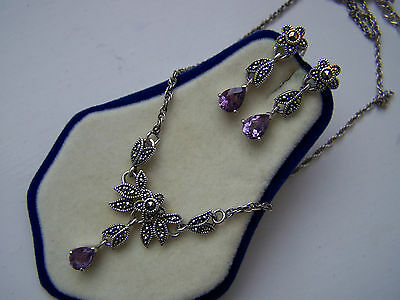 "Vintage Sterling Silver Amethyst Marcasite Set Pendant 16"" 18"" Necklace Earrings"