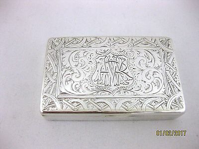 Antique Solid Silver SNUFF BOX   Hallmarked  BIRMINGHAM 1897