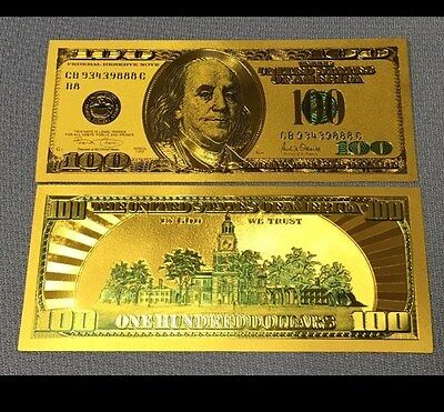 $100 One Hundred 24kt .999 Gold Banknote Colorized With Green Details + Sleeve