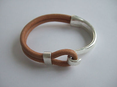 5 Sets Silver Half Cuff Bracelet Findings Hook Clasp For 5mm Round Leather Cord